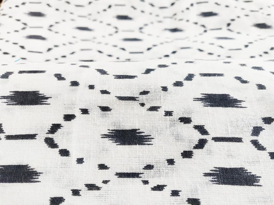 Grey Printed Cotton Flax Fabric